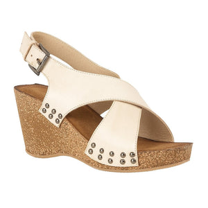 Lotus Kalahari Ladies Beige Leather Wedge Heeled Sandal