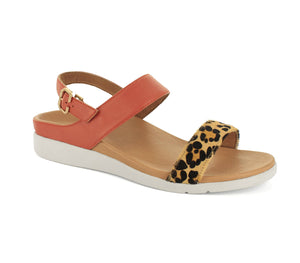 Strive Lucia Ladies Sunset Leopard Leather Slingback Sandals