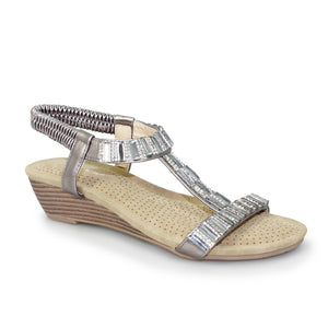 Lunar JLH 877 Reynolds Pewter Diamonte Small Wedge Slip On Sandal - elevate your sole