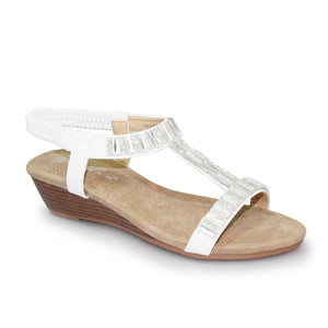 Lunar JLH 877 Reynolds White Diamonte Ladies Slip On Sandal - elevate your sole