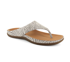 Strive Maui Ladies Almond Zebrine Ladies Leather Toe Post Sandals