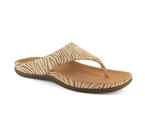 Strive Maui Ladies Tan Zebrine Leather Toe Post Sandals