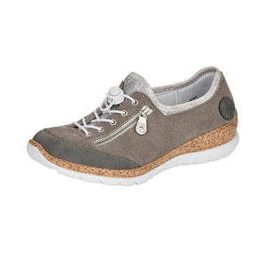 Rieker N42F1-40 Ladies Cement/Silver Suede Leather Slip On Trainers