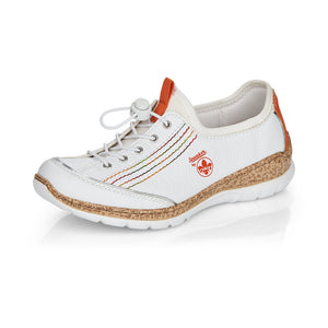 Rieker N42T0-81 Ladies White/Orange Casual Slip On Trainers