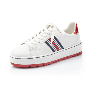Rieker N4622-81 Ladies White With Red and Navy Detail Lace Up Trainer