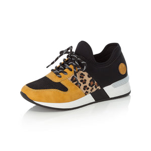 Rieker N7671-69 Ladies Black And Yellow Lace Up Trainers