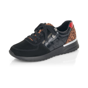 Rieker N8024-00 Ladies Black With Leopard Print Lace Up Trainers