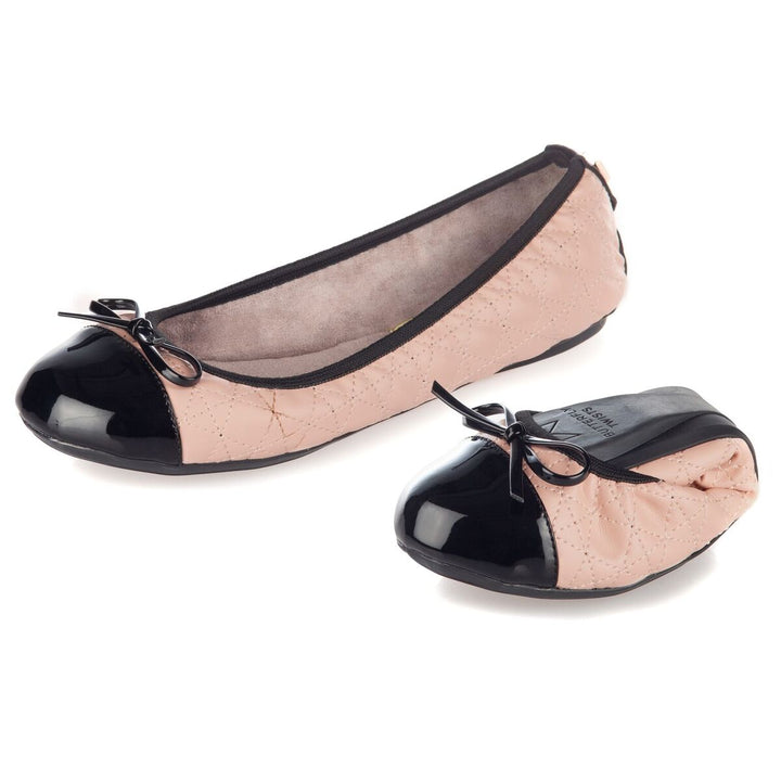 Butterfly Twist Olivia Blush Pink/Black Fold Up Shoes - elevate your sole