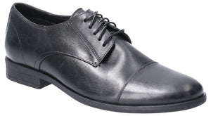 Hush Puppies Ollie Mens Black Leather Toe Cap Shoes - elevate your sole