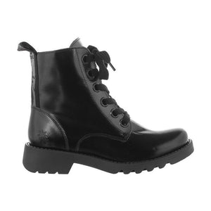 Fly Ragi 1539 Glass Black Patent Leather Combat Lace Up Ankle Boots