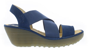 Fly Yaji Cupid Ladies Blue Leather Wedge Sandals