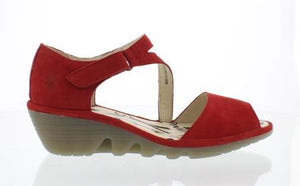 Fly Pona Cupido Ladies Red Leather Wedge Sandals