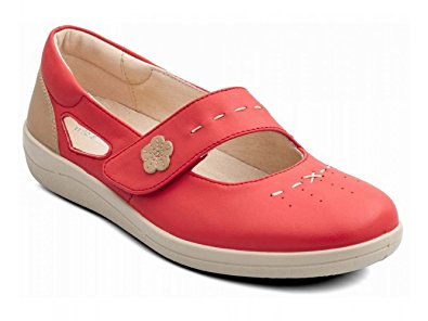 Size 4 Only - Padders Libra Coral Leather Shoes Wider Fitting - elevate your sole