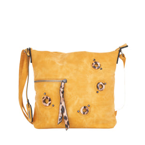 Remonte Q0438-68 Ladies Yellow With Leopard Print Handbag