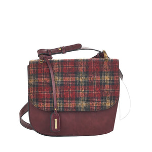Remonte Q0443-55 Ladies Wine And Check Print Handbag