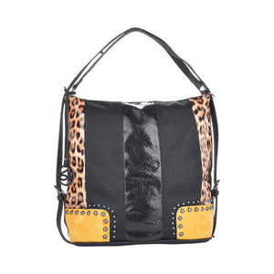 Remonte Q0492-02 Ladies Black With Yellow and Leopard Print Handbag