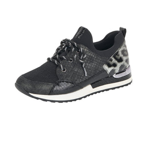 Remonte R2503-45 Ladies Black With Print Lace Up Trainer
