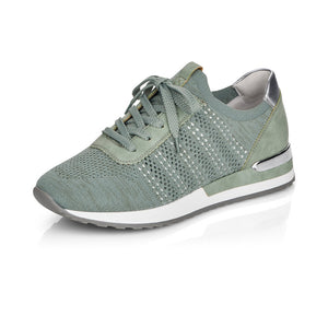 Remonte R2507-52 Ladies Mint Green Lace Up Trainer