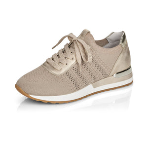 Remonte R2507-60 Ladies Gold Textile Lace Up Trainers