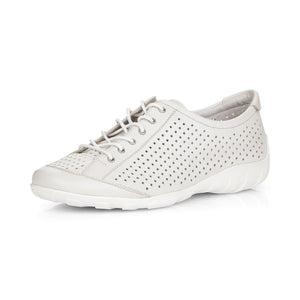 Remonte R3401-80 Ladies White Leather Lace Up Shoe