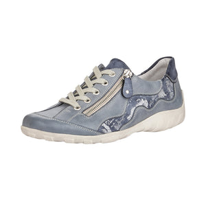 Remonte R3416-14 Ladies Jeans Leather Lace up Trainer