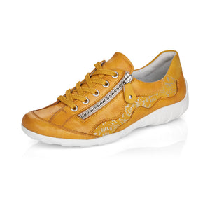 Remonte R3416-68 Ladies Yellow Leather Lace Up Trainers
