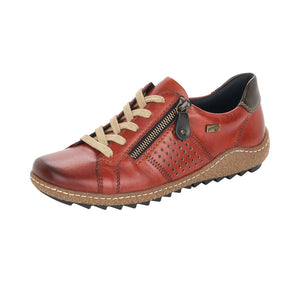 Remonte R4717-38 Ladies Orange Brown Leather Tex Lace Up And Zip Shoes