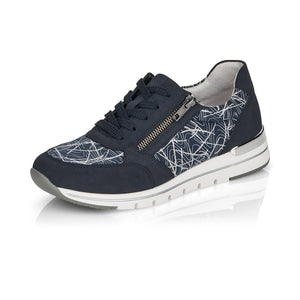 Remonte R6700-14 Ladies Navy Textile Lace Up Trainers