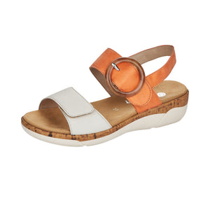 Remonte R6853-38 Ladies Off White/Orange Leather Sandals