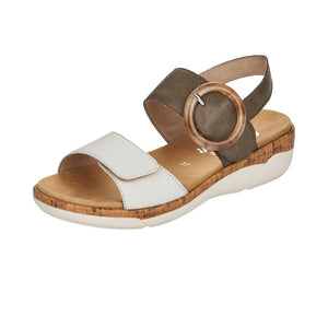 Remonte R6853-54 Ladies Off White/Forest Leather Sandals
