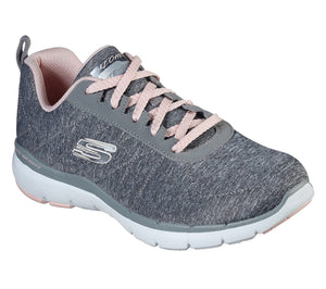 Skechers 13067 Insiders Grey Flex Appeal Air Cooled Memory Foam Lace Up Trainer - elevate your sole