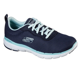 Skechers 13070 Flex Appeal 3.0 First Insight Navy/Aqua Trainers - elevate your sole