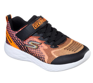 Skechers 97858L Go Run 600 Baxtux Boys Black/Orange Trainer - elevate your sole