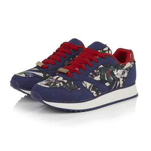 Ruby Shoo Suzie Sage Navy Red Floral Lace Up Trainer Shoes - elevate your sole