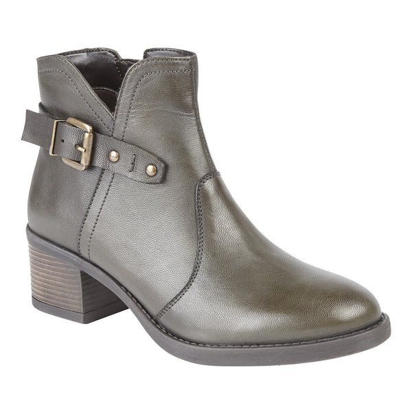 Lotus Tapti Olive Leather Ankle Boots