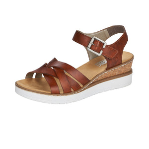 Rieker V3863-24 Ladies Tan Leather Sandals