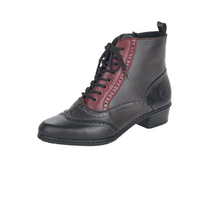 Rieker Y0722-00 Ladies Black, Red and Grey Lace Up Heeled Ankle Boots
