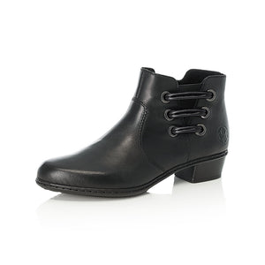 Rieker Y07B0-00 Ladies Black Leather Heeled Ankle Boots