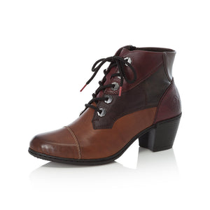 Rieker Y2133-24 Ladies Tan, Red and Brown Lace Up Heeled Ankle Boots