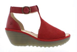Fly Yall Cupi Moss Ladies Red Leather Wedge Sandals
