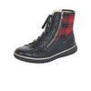 Rieker Z4210-00 Ladies Black With Red Check Print Lace Up Ankle Boots