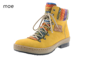 Rieker Z6743-68 Yellow Multi Warm Lining Lace Up Size Zip Walking Ankle Boots