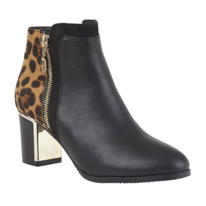 Lotus Greeve Black Leopard Print Zip Up Heeled Ankle Boots