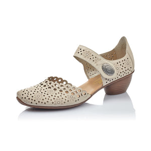 Rieker 43753-60 Ladies Beige Perforated Leather Shoes