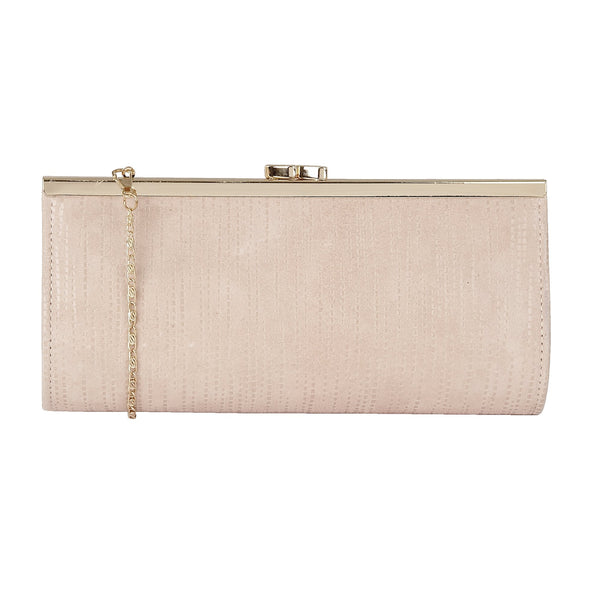 Lotus Clove Pastel Pink Leather Clutch Bag