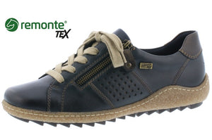 Remonte R4717-14 Navy Leather Tex Lace Zip Up Shoes - elevate your sole
