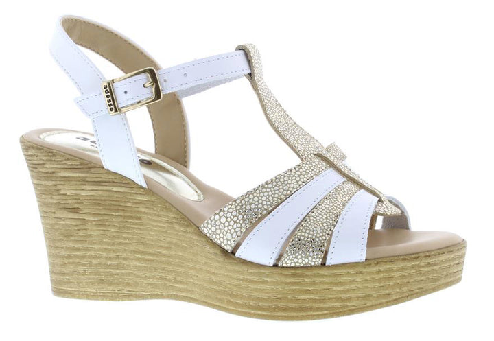 Adesso Sophie A4752 White T bar Wedge Sandals - elevate your sole