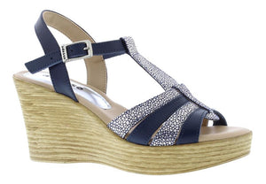 Adesso Sophie A4754 Navy T bar Wedge Sandals - elevate your sole