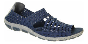 Adesso Gracie A4894 Navy/Silver Elasticated Full Back Sandal - elevate your sole