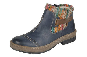 Rieker Z6784-14 Blue Combination Collar Ankle Boots - elevate your sole